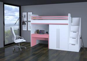 Polini City Hochbett mit Matratze 200x90 Treppe Schrank Tisch wei rosa