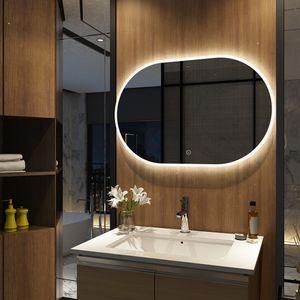 Meykoers Badezimmerspiegel Oval 90x60cm Durchmesser LED Badspiegel mit Touch Schalter mit 3 Lichtfarbe 3000-6500K Lichtspiegel Badezimmerspiegel mit Beschlagfrei IP44 energiesparend A++
