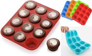 GKA 12er Muffin Form Silikon Back Förmchen Kuchen Cupcake Set Mini Flexibel Antihaft Muffinform Backform Kuchenform