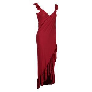 Frauen langes Kleid tiefem V Ausschnitt Backless Strap unregelmäßigen XL rot Maxikleid