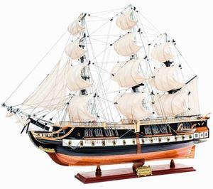 Casa Padrino Luxus Flaggschiff USS Constitution mit Massivholz Ständer Schwarz / Braun 103 x 30 x H. 85 cm - Handgefertigtes Deko Schiff Holzschiff Segelschiff Kriegsschiff - Deko Accessoires