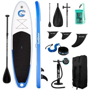Funwater Stand Up Paddle Board 335x82x15cm Surfboard SUP Paddelboard Smiley aufblasbar blau