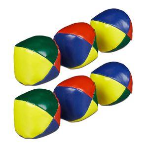 relaxdays 6 x Jonglierbälle, Jonglierset, Juggling Balls, Juggling Set, Juggle Balls bunt