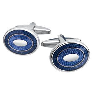 Herren Executive Business Stil Manschette Links Gold Navy Blau Oval Klassischen Französisch Manschette Manschettenknöpfe