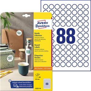 AVERY Zweckform Kennzeichnungs-Etiketten Durchmesser: 20 mm rund weiß 880 Etiketten