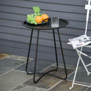 Outsunny Beistelltisch für Garten Couchtisch Kaffeetisch mit Tragegriff Wohnzimmer Metall Schwarz Ø46 x 56H cm