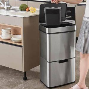 72L Mülleimer Automatik Sensor Abfalleimer Intelligenter Kücheneimer Recycling Abfallbehälter Trennsystem