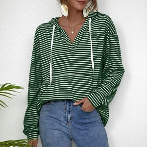 Frauen lose gestreifte Kapuzenpullis fallen Schulter lange aermel Vintage Fruehling Sweatshirt Casual Tops gruen-S