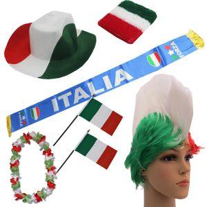 "Fan-Paket ""Italien"" Italy Italia WM EM Fußball Schal Hawaiikette Hut Schweissband Fahne Perücke"