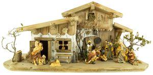 Prachtvolle Weihnachtskrippe Engelthal hell inkl. 12-tlg. Figurensatz K 001
