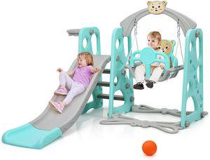 COSTWAY 4 in 1 Kinder Spielplatz, Kinder Rutsche Kletterleiter & Schaukel & Basketballkorb für Kinder, Schaukelgerüst, Kinderschaukel, Kinderrutsche für Outdoor und Indoor (Grün)