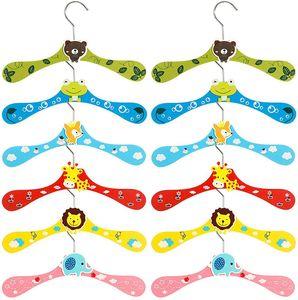 Kleiderbügel Kinder 12 Stück Cartoon Hölzerne Bunte Baby Kleidung Hose Hook Kleiderbügel Tiermotive