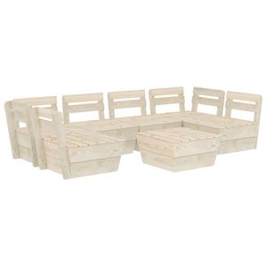 7-teiliges Garten-Paletten-Lounge-Set Gartengarnitur Set Sitzgruppe Imprägniertes Fichtenholz