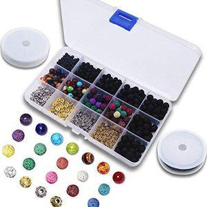 Pndwfr  Lava-Perlen-Set, 500 Stück Lava-Perlen Stein mit Chakra-Perlen und Abstandhalterperlen, Kristallschnur, 4–8 mm für Schmuckherstellung