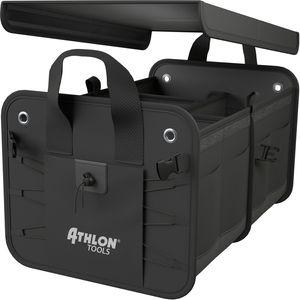 """ATHLON TOOLS Premium Kofferraumtasche mit Deckel -  02/2021 """"sehr gut"""" - 60 Liter XXL Kofferraum-Organizer mit vielen Fächern - Extra stabile & wasserfeste Böden - Faltbare Autotasche Autobox - mit Antirutsch-Klett"""