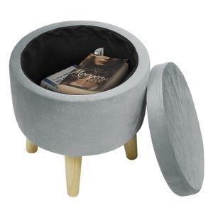 Sitzhocker mit Stauraum aus Samt,Schminktisch Hocker,Fußhocker Aufbewahrungsbox 32X24X36.5cm Grau