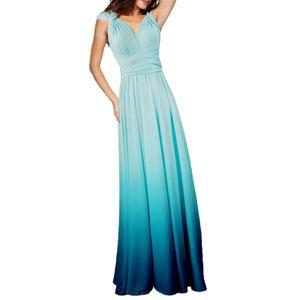 Frauen Cabrio Kleider Maxi Kleid Multi Way Ombre Abend Flowy Brautjungfer Party Cocktail Neujahr Formal Long Dress[hellblau-S]