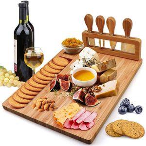 Käsebrett-Set aus Bambus mit 4 Spezial-Käsemessern Set perfektes Weihnachtsgeschenk, Thanksgiving-Geschenke