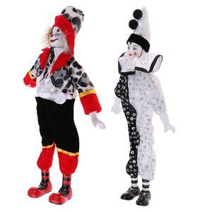 MagiDeal 2 Stücke 15 Zoll Porzellan Hängen Fuß Clown Puppe Zirkus
