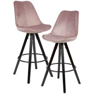 WOHNLING 2er Set Barhocker Rosa / Schwarz   Design Barstuhl Samt / Massivholz Skandinavisch 2 Stück   Tresenhocker mit Lehne Sitzhöhe 77 cm