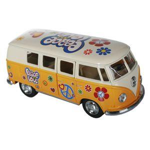 Metall Modellauto VW-Bus T1 1962 Flower Power, Farbe:gelb
