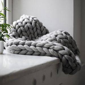 Handgefertigtes Chunky Gestrickte Wolldecke, Wolle Garn Arm Stricken werfen, Haustier Bett Stuhl Sofa,Grau,80 * 100cm