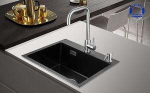 CECIPA 50cm × 45cm Spülen mit 1 Becken Spülbecken Anthrazitschwarz Free Soap Dispenser