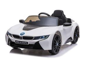 "Kinder Elektroauto, Kinderfahrzeug ""BMW I8"" - lizenziert - 12V - 2,4Ghz Ferngsteuert, MP3, Ledersitz+EVA-Weiss"