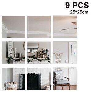 9 Stück Spiegelfliesen Spiegelkachel Fliesenspiegel Spiegel je 25 × 25 cm Wanddekoration Wandspiegel