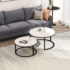 2er Set Couchtisch  ø 80 | 60 cm Metall Wohnzimmertisch Modern | Glastisch Rund Sofatisch Wohnzimmer Moderner coffee table mit Glasplatte | Kleiner Runder Design Kaffeetisch