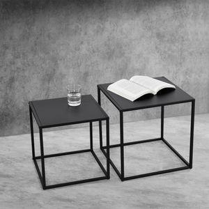 Beistelltisch Set Sofatisch 2er Set Couchtische Kaffeetisch in quadratischer Form Nachttisch Deko Tisch Metallgestell Industriedesign Schwarz [en.casa]