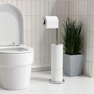 Pyzl Toilettenpapierhalter Stehend FüR Klopapier Aufbewahrung, PräMie Edelstahl Klopapierhalter Stehend ohne Bohren FüR Toilette Wasserdicht Wc Papier Halterung, Klorollenhalter Stehend Halten 5 Rollen