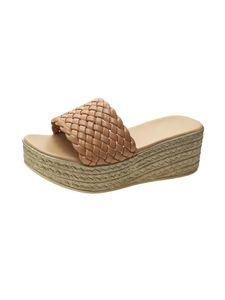 Damen Hausschuhe Mode einfarbig offene Zehen atmungsaktive High Heels Wedge Sandalen,Farbe: Khaki,Größe:36