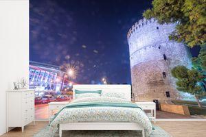 Tapeten - Fototapete - Feuerwerk am Himmel über Thessaloniki in Griechenland - 360x240 cm - Vinyl