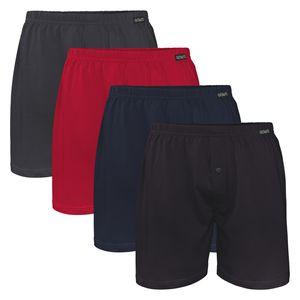 4er Pack Herren Single Jersey Boxershorts 4farb-Mix (Schwarz, Anthrazit, Deep Red, Deep Navy) - 12/5XL