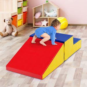 GOPLUS 2er Schaumstoff Bausteine, Softbausteine zum Klettern, Großbausteine mit Leiter & Rutsche, Oberfläche aus Kunstleder, Motorikspielzeug zum Entdecken und Spielen, für Babys & Kleinkinder