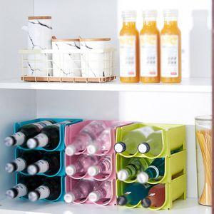 3 Stück Bierflasche Getränkedose Kühlschrank Aufbewahrungsbox Rack Stapelbares Organizer-Regal (blau + grün + pink)