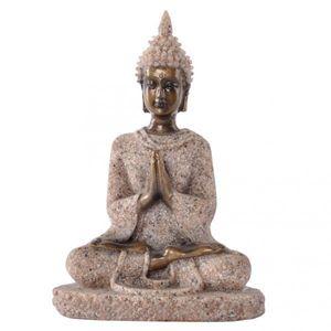 Der Farbton Sandstein Meditation Buddha-Statue Skulptur Handgeschnitzt Figur # 3
