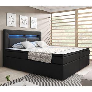 Juskys Boxspringbett New Jersey 180 x 200 cm mit Bettkästen, LED Beleuchtung, Bonell-Matratzen, Topper & Kunstleder - schwarz – Bett Doppelbett