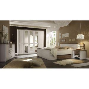 87-062-B5 LUCA Komplettes Schlafzimmer inkl. Kleiderschrank, Doppelbett & Nako´s im Set Pinie weiß Nb.