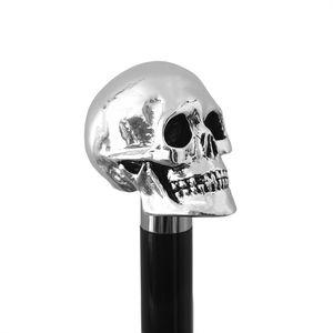 Eleganter Gehstock mit Griff Schädel mit Silber bezieht -  Spazierstock zur Hochzeit oder Feier - H. 90 cm