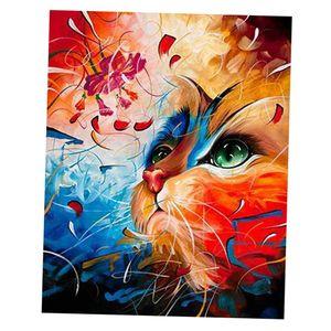 1 Set DIY Katzen Ölgemälde Malen nach Zahlen Malen Auf Leinwand