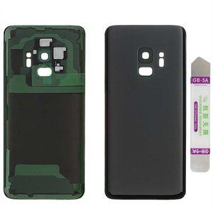 Akkudeckel für Samsung Galaxy S9 G960F mit Kamera Linse Backcover Rückschale Batterie Deckel Akkufachdeckel Akkudeckel Gehäuse Kleber bereits vormontiert Schwarz