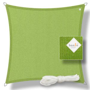 hanSe® Marken Sonnensegel HDPE Quadrat 3x3m Limegrün UV-Schutz Sonnenschutz Schattenspender