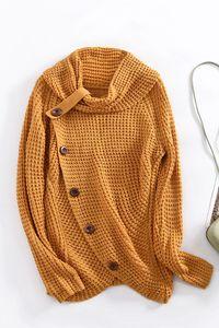 Pullover Damen Warm Asymmetrische Strickpullover Rollkragenpullover Solid Wrap Gestrickt Langarmshirts Oberteile Causal XL