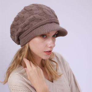 Wintermütze Damen Mütze mit Shirm Damen Schirmmütze Damen Baskenmütze Beanie Barett Warm Strickmütze Winter Fleece Innerhalb Gefütterte Mütze Damen