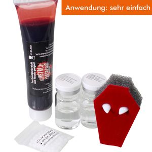 KoH-Vampirset mit Zähnen+Thermoplast+Kunstblut+Kontaktlinsen