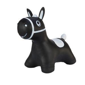 Hoppimals Höpftier schwarz Pferd mit Pumpe Hüpfpferd aufblasbares Hüpfspielzeug aus Gummi