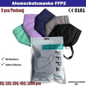 50 FFP2 Maske, EU Konform CE0161 Mundschutzmaske, atemschutzmasken 95% Filtration, sichere und weiche erstklassige Maske