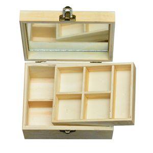 Gespiegelte Holz Makeup Organizer Plain Holz Aufbewahrungsbox Holz Schmuck